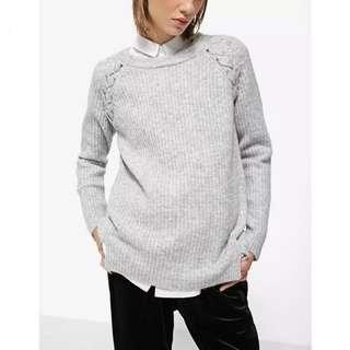 OshareGirl 10 歐美純色肩部裝飾條紋針織衫圓領毛衣