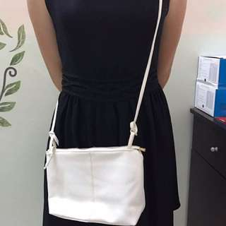White PU Leather Sling bag