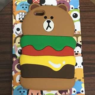 漢堡包 Brown iPhone 6s Plus 矽膠手機殻