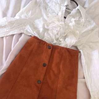 Brown button Sued skirt #ramadan50