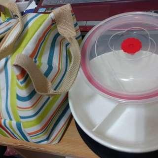 🚚 二手 陶瓷分隔三格耐熱微波便當盒 保鮮盒 餐盒