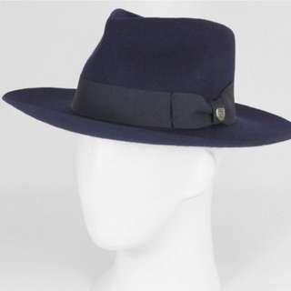 NWT $125 BRIXTON navy Lopez fedora wool hat sz small