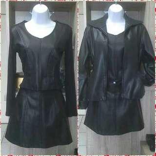 2/3件式皮衣裙套裝/含運