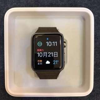 初代Apple Watch 42mm 不鏽鋼棕色皮革錶帶