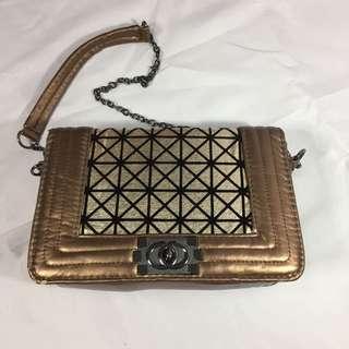 Chanel-inspired Brown Metallic/Copper Sling Bag