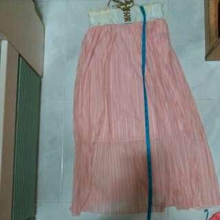 粉紅色半截長裙