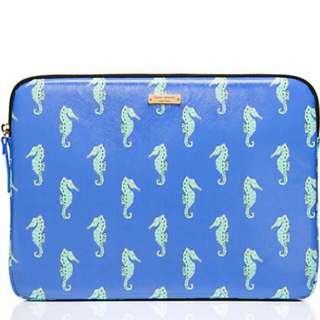 "Kate spade seahorse prints 13"" Laptop Sleeve. NEW"