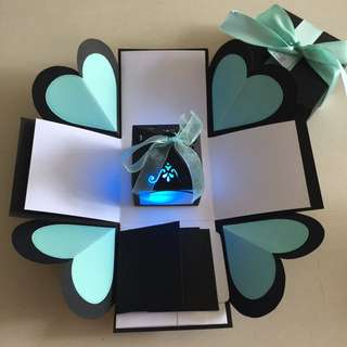 DIY Explosion Box With Lighthouse, 4 waterfall in black, Tiffany & white