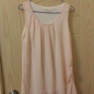 雪紡粉色洋裝