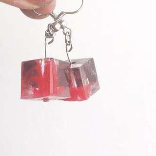 Red earrings, flower earrings, red flower earrings