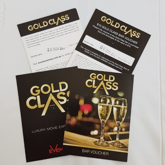 2x Gold class movie tickets (unrestricted) with 2x bar vouchers
