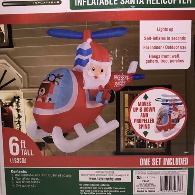 6ft Air Inflatable Hanging Moving Santa Helicopter Reindeer
