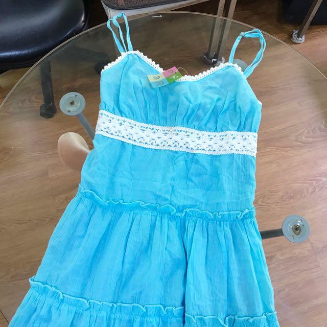 夏日 細肩可調水藍裙