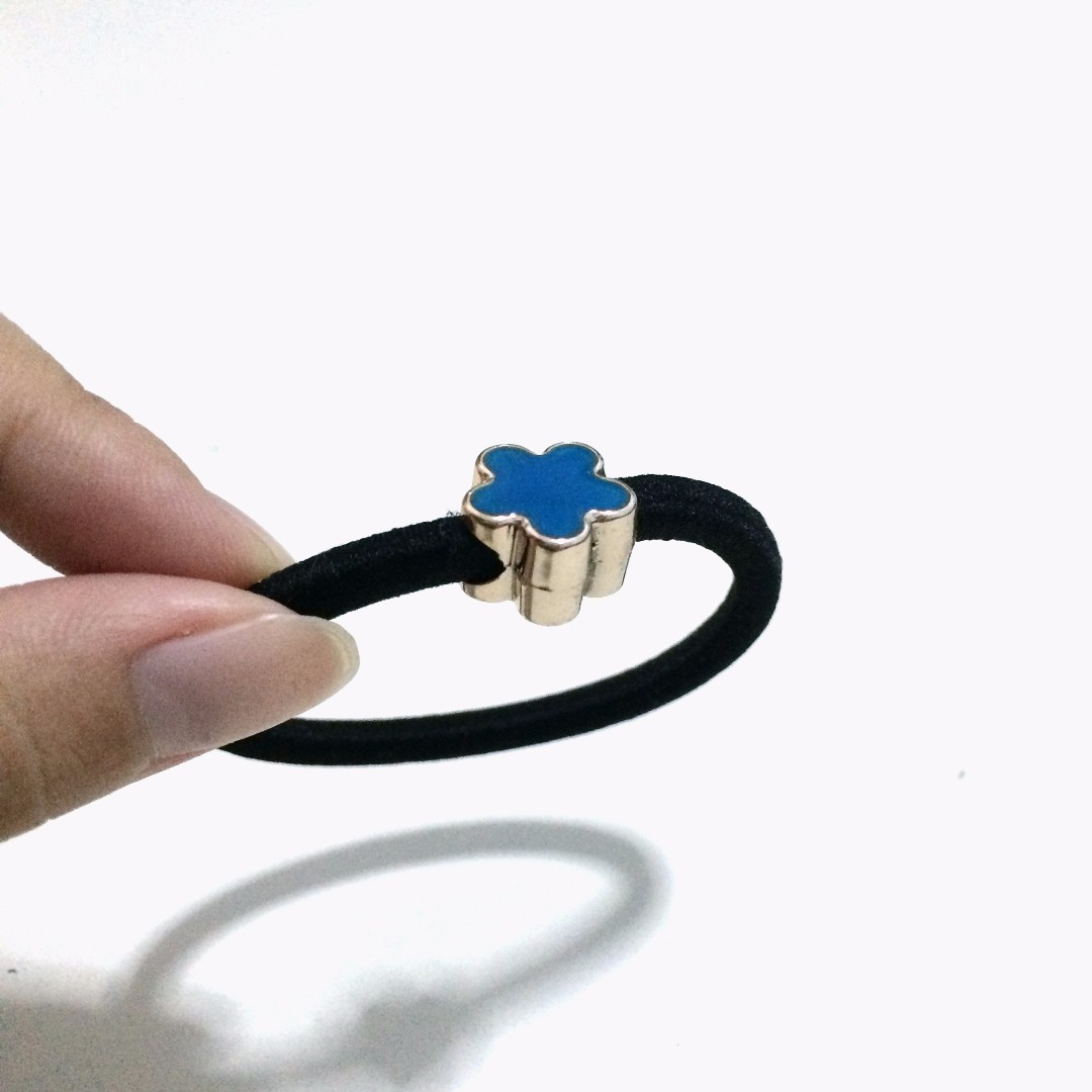 全新/ 藍色金屬小花髮圈 #幫你省運費