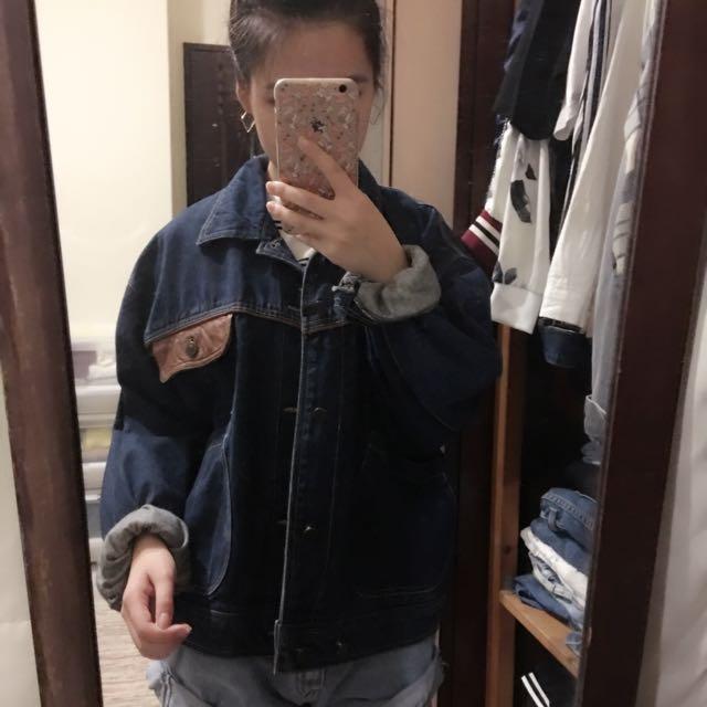 韓國帶回 真皮厚磅牛仔外套