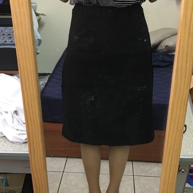 長裙 百搭裙 黑裙 中長裙 開叉