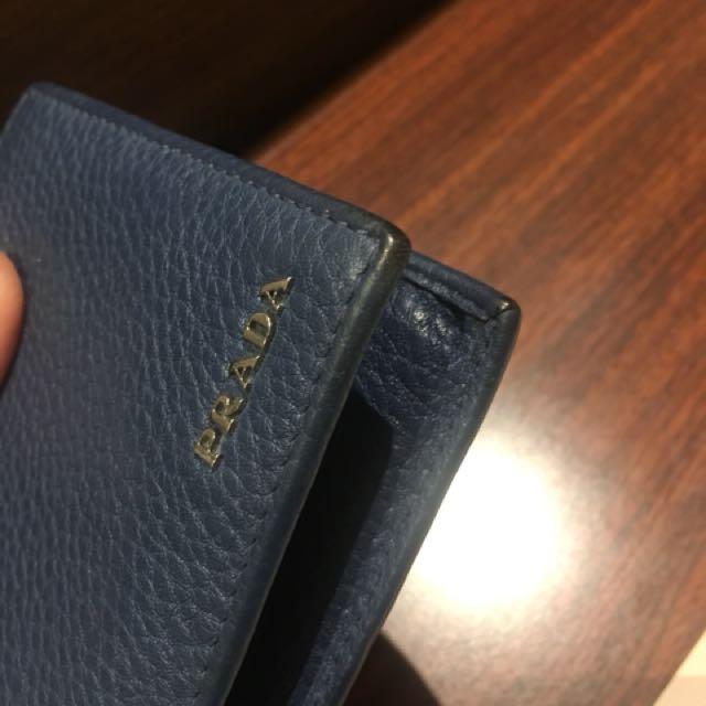 正品 Prada 深藍8卡皮夾