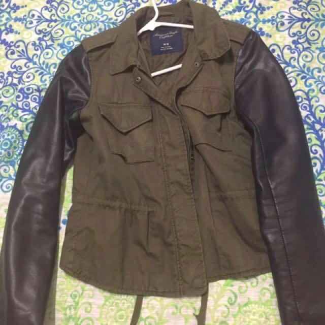 American Eagle Leather Sleeve Jacket