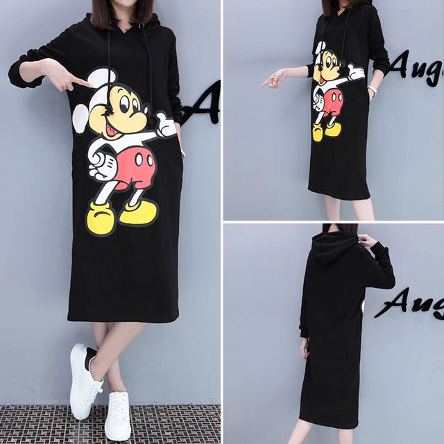 Black Coloured Mickey Mouse Cartoon Pockets Designed Hooded Dress