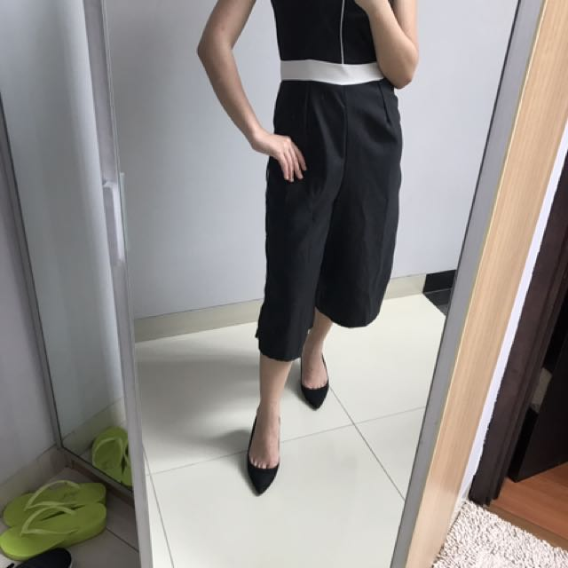 Black strip jumpsuit
