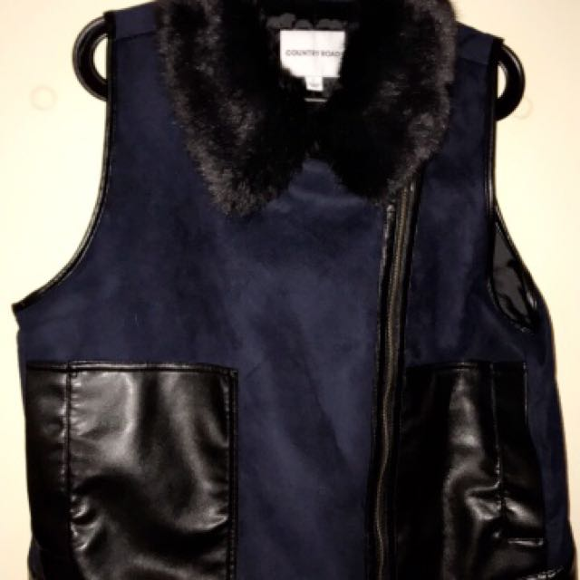 Country Road Leather & Fur Vest
