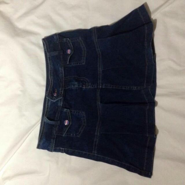 Denim BNY mini skirt