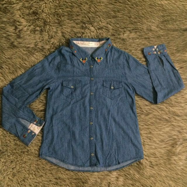Denim Shirt with Flora Borders