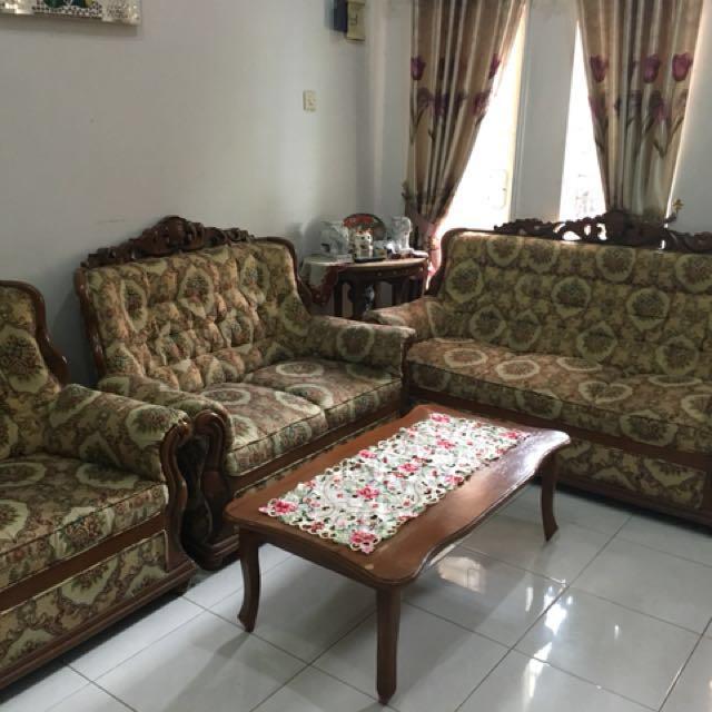 Dijual Cepat Sofa + Meja Kayu Jati Asli