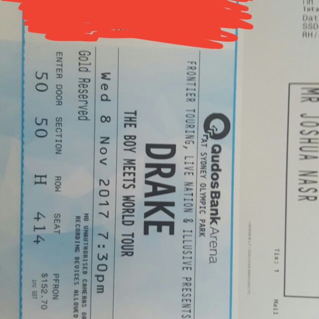 Drake Ticket 8th Syndey GOLD RESERVE UNDER RETAIL!