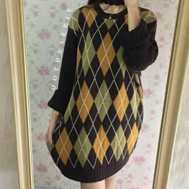 ENYCE HQ Dark brown knit pull over dress