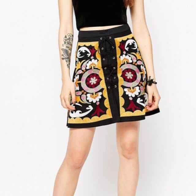 Embroidered Lace Up Front Skirt