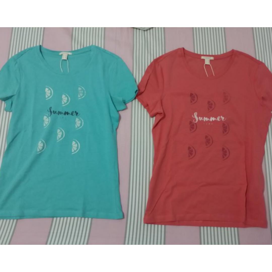 (全新)Esprit 水果 短袖 T恤(西瓜紅、湖水綠)