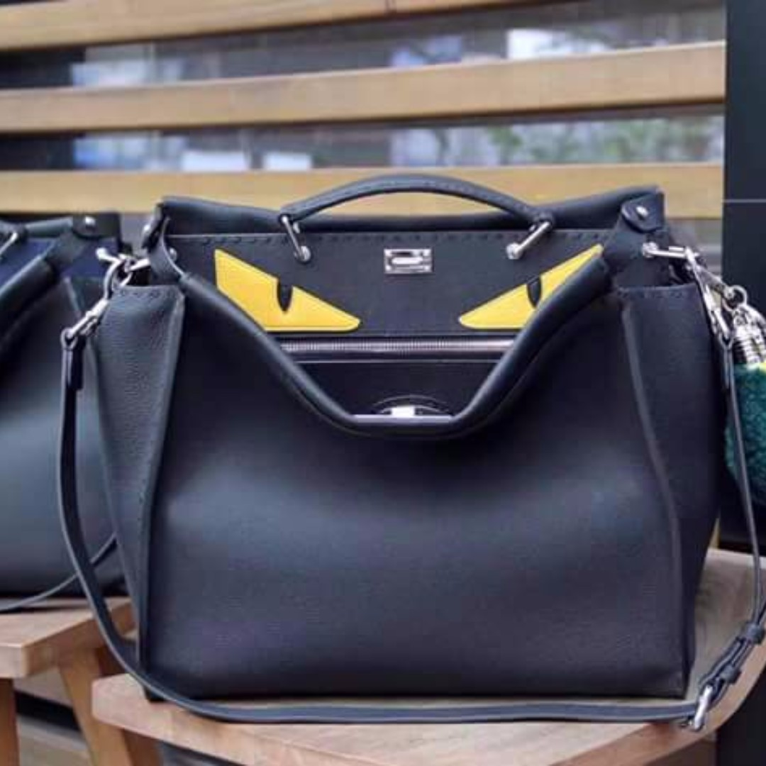 8d467c52175 FENDI Monster Eyes Peekaboo Bag, Black/Yellow/ 💯% Authentic >>> 1 Item  left>>> PLEASE READ Bio and Product details carefully, Luxury, Bags &  Wallets on ...