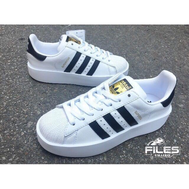 轉賣Files-adidas Originals Superstar Bold白 厚底增高 金標 BA7666范冰冰