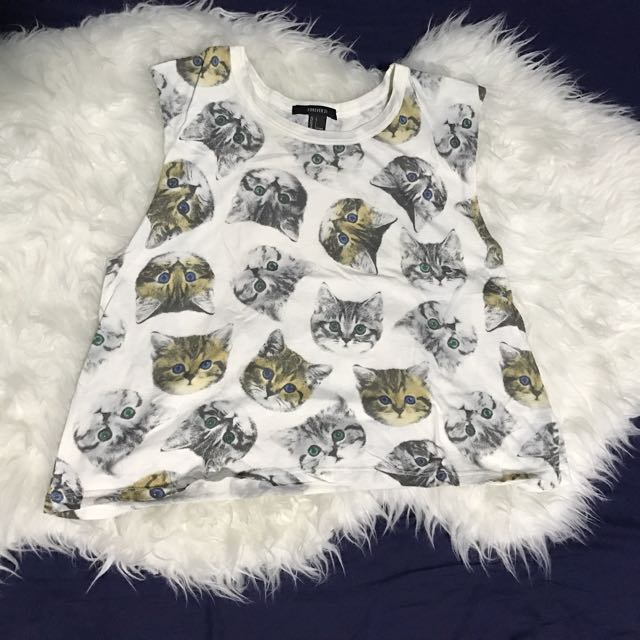 Forever 21 Cat Cropped Muscle Shirt