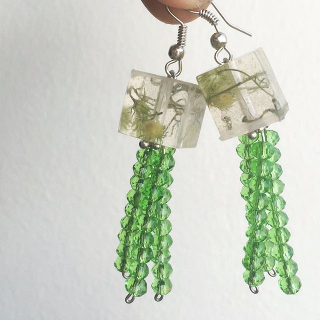 Green earrings, tssel earrings, green petal earrings, petal earrings