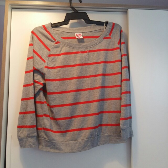 Grey and red striped sweater