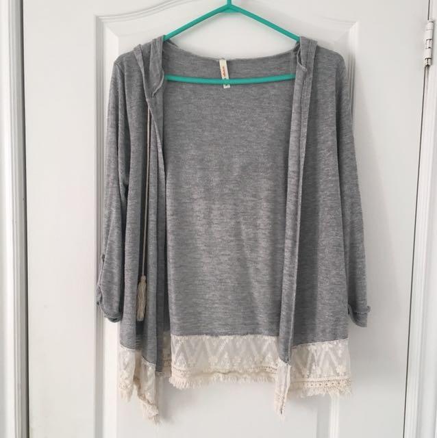 Grey lace cardigan