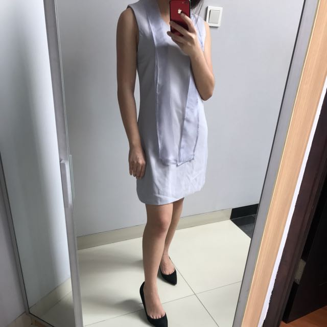 Grey ribbon dress