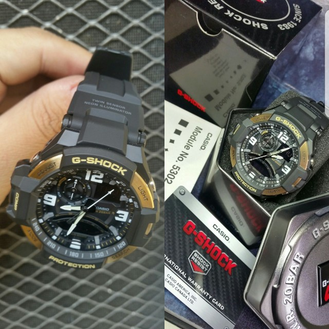 GShock Aviator GA-1000 9G Black Gold Series Mens Watch
