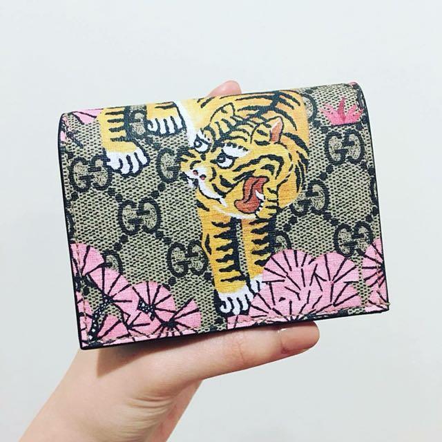 Gucci 限量孟加拉虎和風小短夾 零錢包 卡片夾