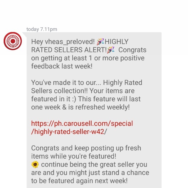 Highly Rated Seller! Thank you Carousell😉
