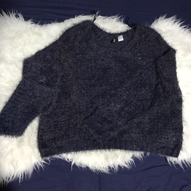 H&M Navy Furry Cropped Sweater