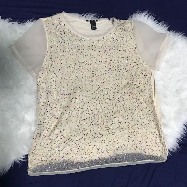 H&M Nude Sequin Shirt