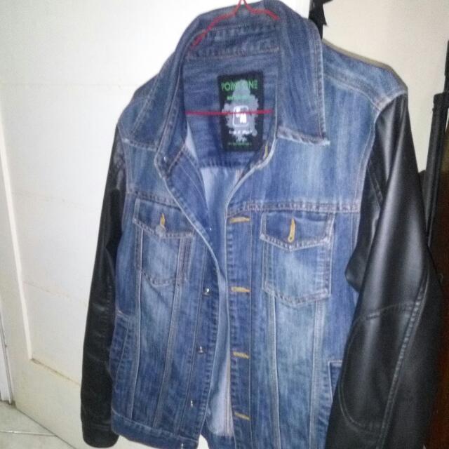 Jaket Jeans Lengan Kulit