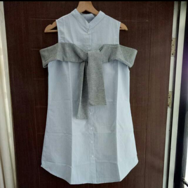 Kemeja Dress Salur Ribbon (new)
