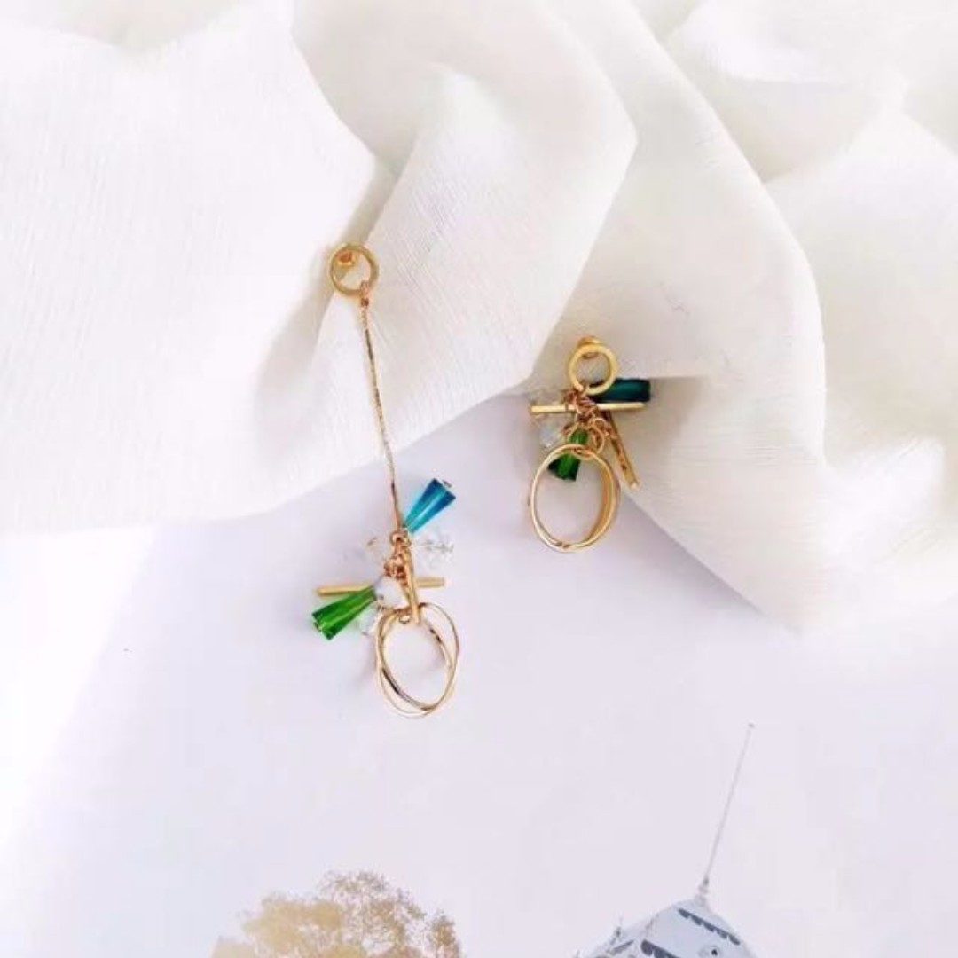 Korean Dangling Earring Handmade Green Globe