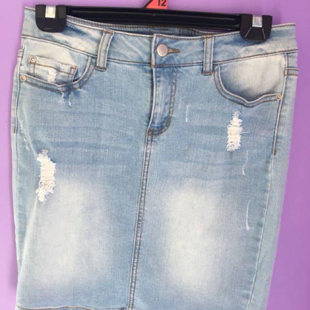 Light Washed Denim Skirt