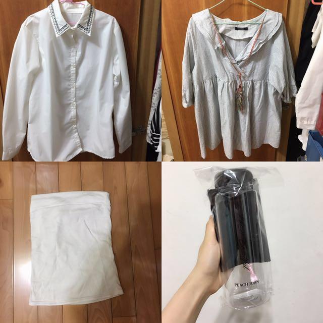 lovfee 洋裝 ➕白色襯衫➕平口背心,送杯子