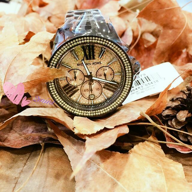 Michael Kors晶鋼黑滿天星水鑽錶款